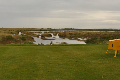 Teeshot over marshland at No8 at Royal West Norfolk